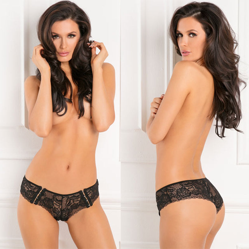 HOT HOOK UP CROTCHLESS PANTY BLACK M/L