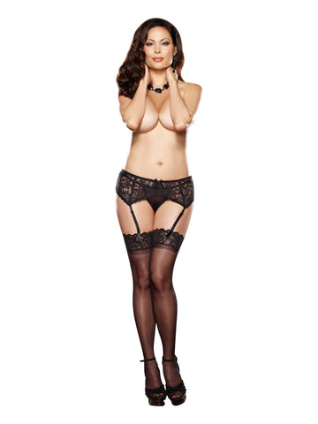 LACE GARTER BELT QUEEN SIZE BLACK