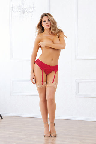 LACE GARTER BELT O/S RED (RED DIAMOND)