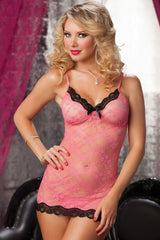 Sweet Pie Chemise & Thong (OS) Pink