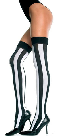 Opaque wide vertical stripe thighHi (Black and White)