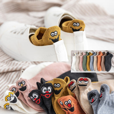 Kawaii Embroidered Expression Women Socks Cotton Harajuku Happy Funny Socks Women Christmas Gifts Ankle 1 Pair Size 35-40 - GrabGoPay