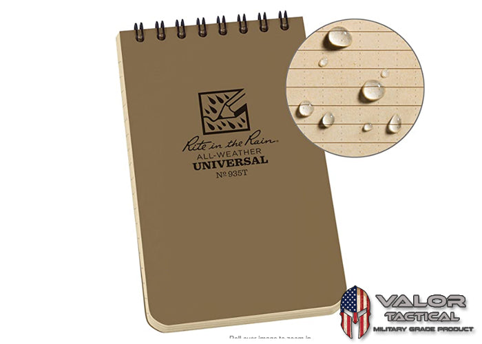Rite In The Rain - [ Universal ] 3x5 Top Spiral with Polydura Cover Notebook [ Tan ]