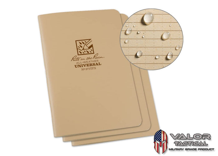 Rite In The Rain - [ Universal ] 4.5 x7 Side Staple with Field Flex Cover Notebook [ Tan ]