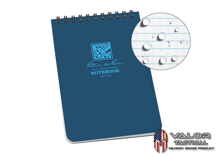 Rite In The Rain - [ Universal ] 4x6 Top Spiral with Polydura Cover Notebook [ Blue ]