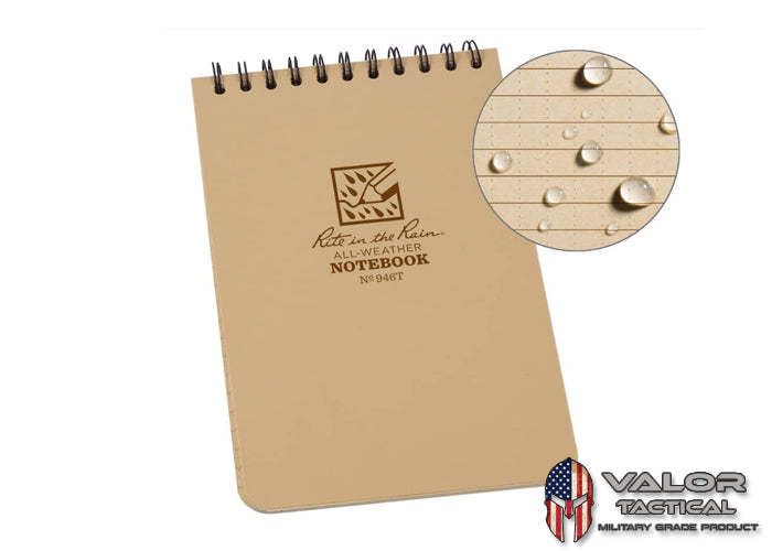 Rite In The Rain - [ Universal ] 4x6 Top Spiral with Polydura Cover Notebook [ Tan ]
