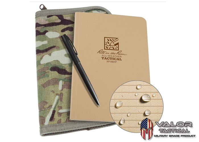 Rite In The Rain - Field Book Kit [ Multicam Book Cover / Tan Field Book / Black Pen ]