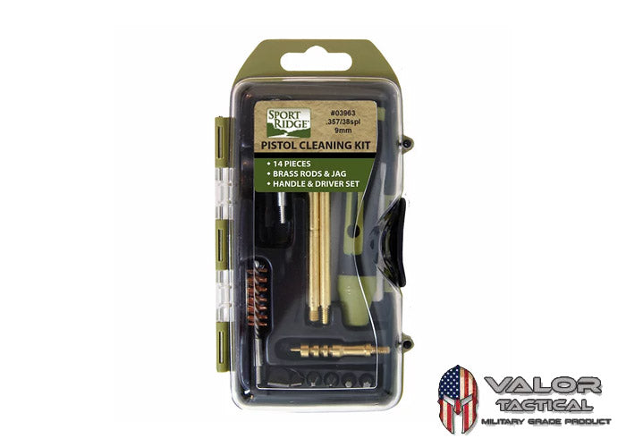 SPORT RIDGE - 14-PIECE PISTOL FIELD CLEANING KIT [9mm./.357/.38SPL]