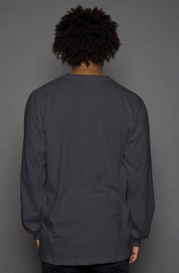 PT Casual Long Sleeve T  Dark Gray/ white pocket  design