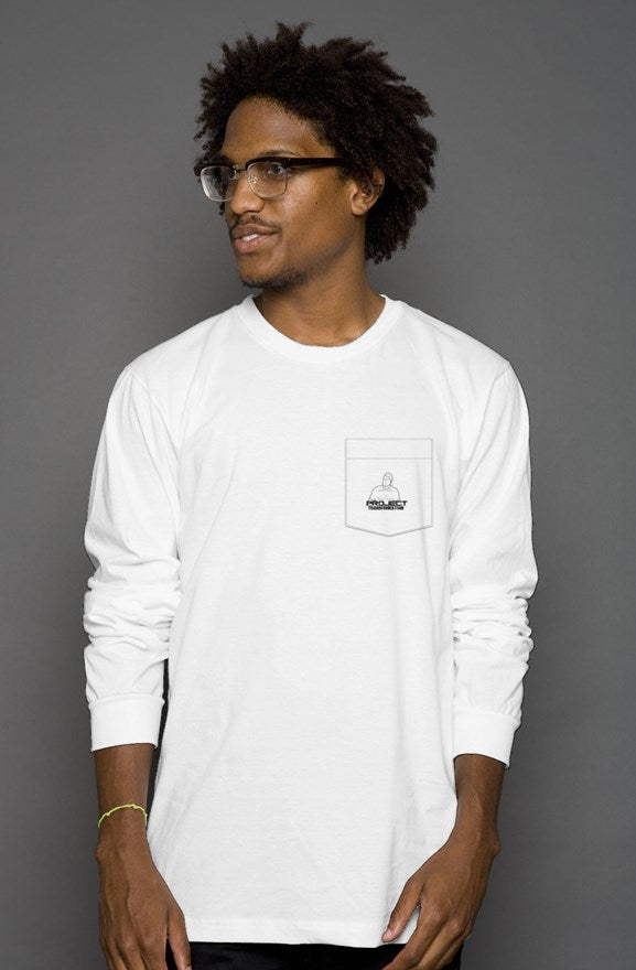 PT Casual Long Sleeve T White/ white pocket  design