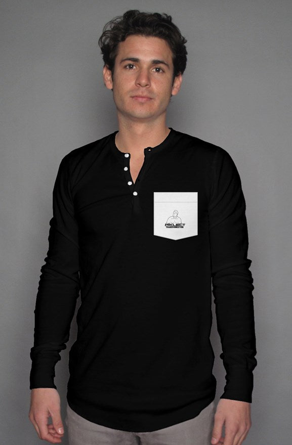 PT Casual Long Sleeve Henley T Black/ white pocket  design