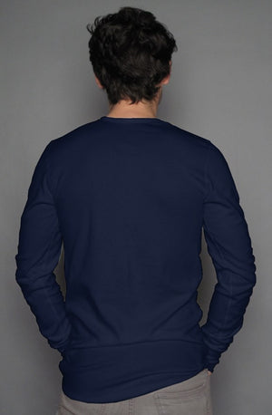 PT Casual Long Sleeve Henley T Navy/ white pocket  design
