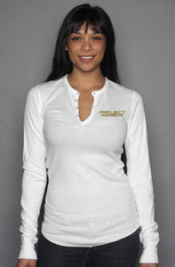 PT  Her Way Casual Long Sleeve Henley T white/ gold  design