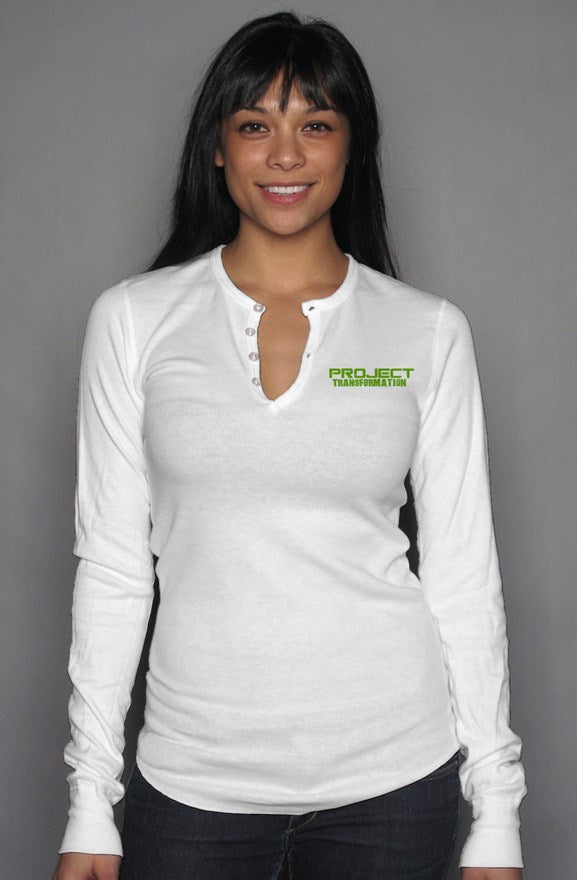 PT  Her Way Casual Long Sleeve Henley T white/ green design