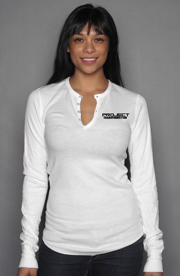 PT  Her Way Casual Long Sleeve Henley T white/ black design