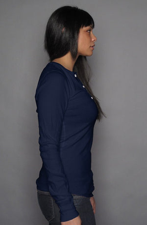 PT  Her Way Casual Long Sleeve Henley T Navy/ White design