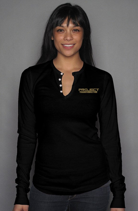 PT  Her Way Casual Long Sleeve Henley T Black/ Gold design