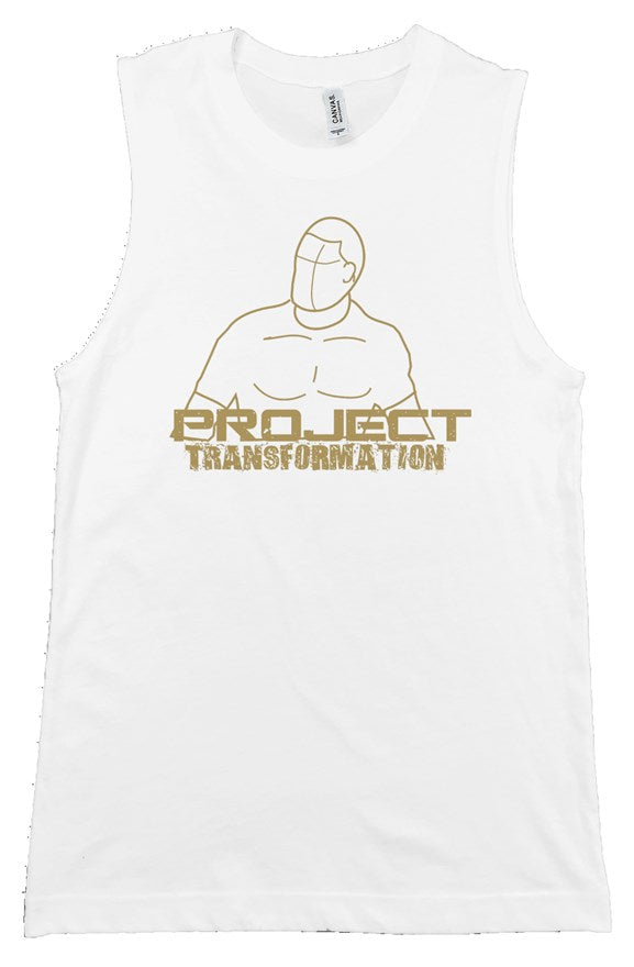 PT Work Out Muscle Shirt White/ gold design