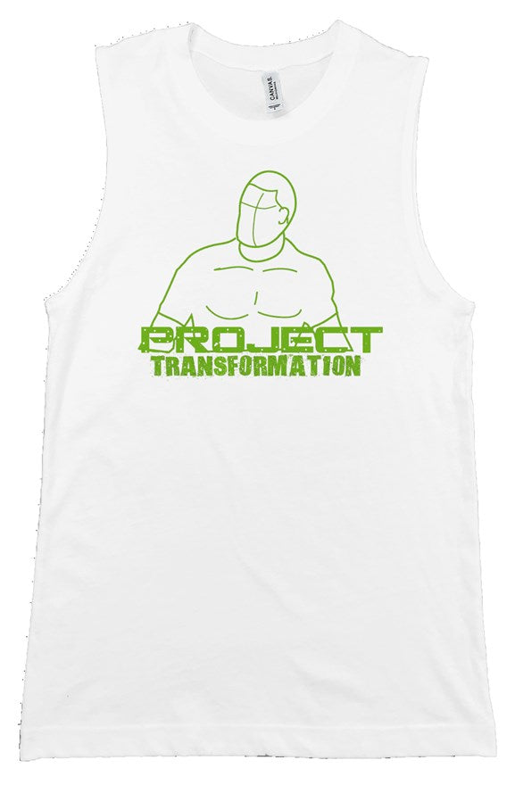 PT Work Out Muscle Shirt White/ green design
