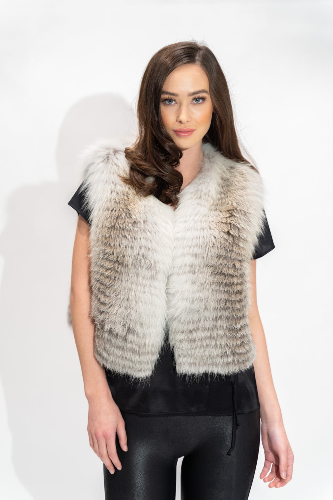 Feathered Fox Fur Vest