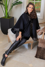 Load image into Gallery viewer, Chevron Cashmere Mink Trim Cape