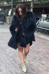 Midnight Blue Feathered Fox Fur Coat