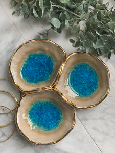 22k Gold Apatite Triple Attached Spice Bowls