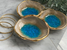 Load image into Gallery viewer, 22k Gold Apatite Triple Attached Spice Bowls
