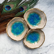 Load image into Gallery viewer, 22k Gold Aqua Triple Separate Spice Bowls