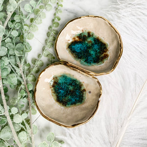 22k Gold BlueGreen Double Separate Bowls