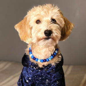 Blue Glitter Glam Collar