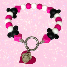 Load image into Gallery viewer, Minnie Mouse Silicone Beaded Dog Collar - Product Photo (Chelsea & Me)