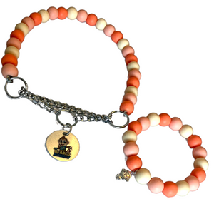 "The Beaded Monkey - Peaches & Cream Silicone Beaded Dog Collar & Bracelet- The Beaded Monkey ""Original"" Spring 2021 Collection - Product Photo of Martingale Collar & Bracelet"