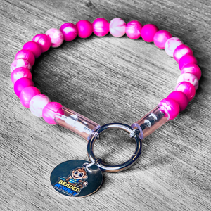 The Beaded Monkey - Pink Glitter Glam Silicone Beaded Dog Collar - Sweetie B 2020 Collection - Product Photo of Slip On Collar
