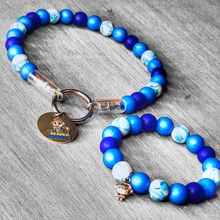 Load image into Gallery viewer, The Beaded Monkey - Blue Glitter Glam Silicone Beaded Dog Collar & Matching Bracelet - Sweetie B 2020 Collection - Product Photo of Slip On Collar & Bracelet
