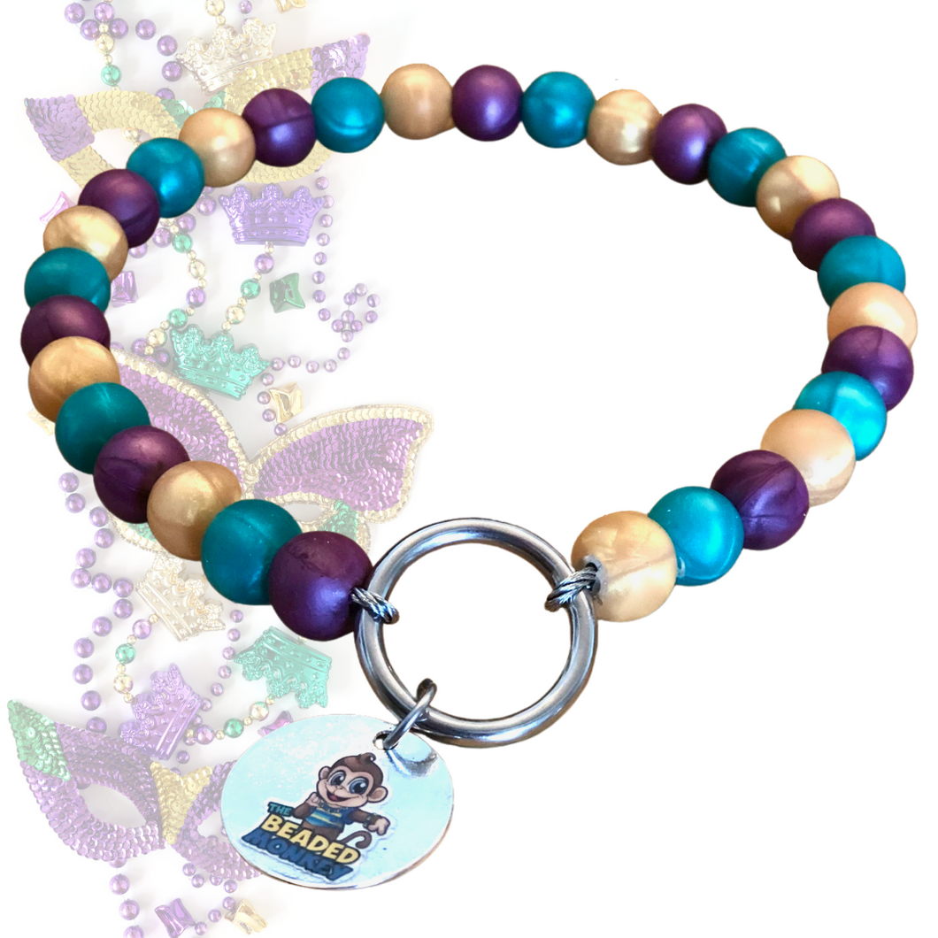 The Beaded Monkey - Limited Edition Mardi Gras Silicone Beaded Dog Collar - The Beaded Monkey