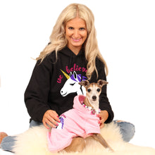 Load image into Gallery viewer, The Beaded Monkey - We Believe Silicone Beaded Dog Collar - Chelsea & Me 2020 Collection - Chelsea & Lisa Wearing Slip On Collar With Matching Hoodies from Chelsea & Me (chelseaandme.com)
