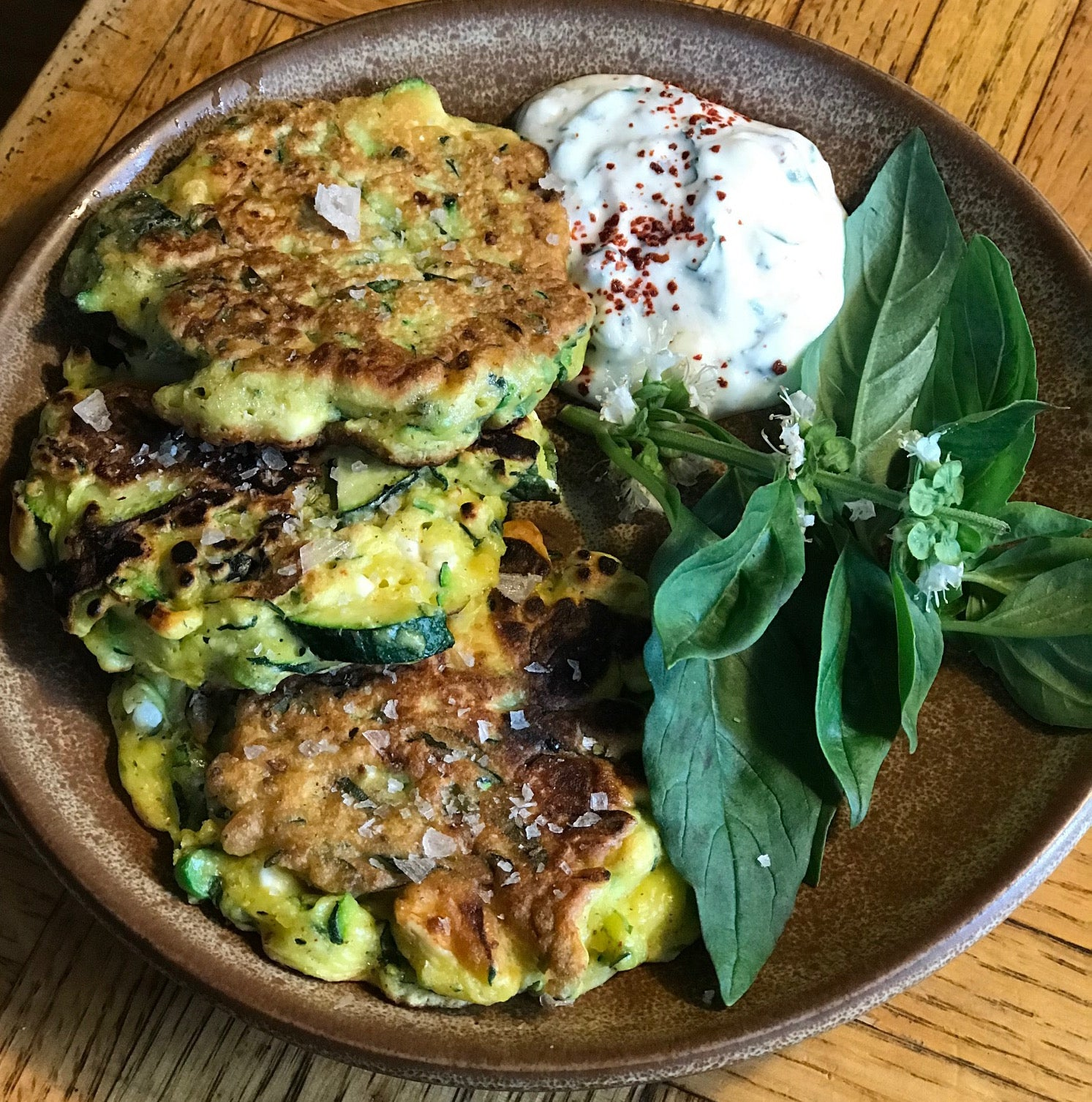 Zucchini, Basil and Garlic Whistle Fritters