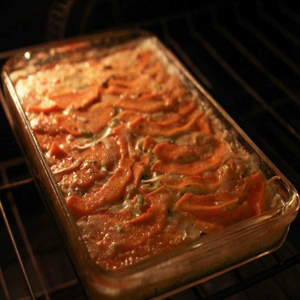 Winter Squash Gratin with Gruyere and Leeks