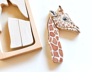 Giraffe Watercolour Wooden Jigsaw Puzzle - Behind The Trees Wooden Toys