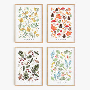 SEASONS // Summer, Autumn, Winter, Spring Art Prints - A4 - Behind The Trees Wooden Toys