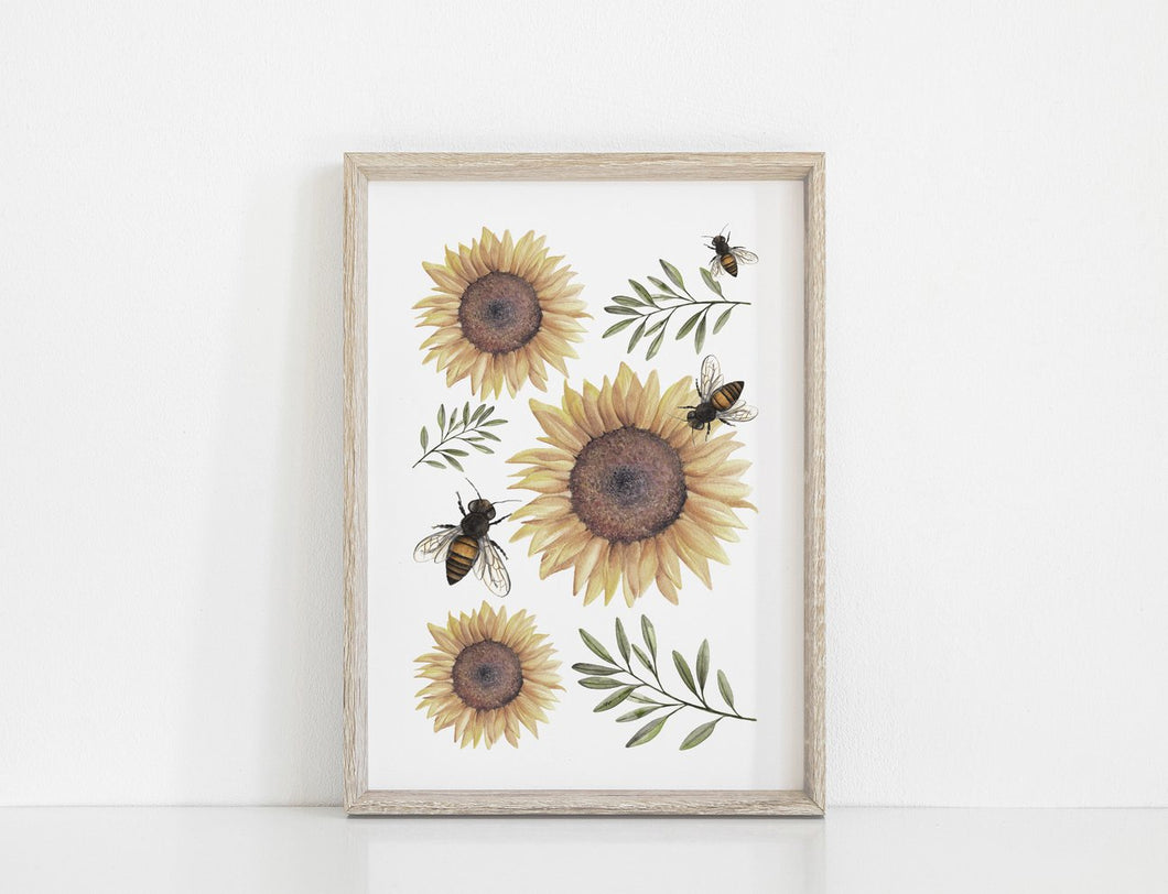 Sunflowers Art Print - A3 - Behind The Trees Wooden Toys