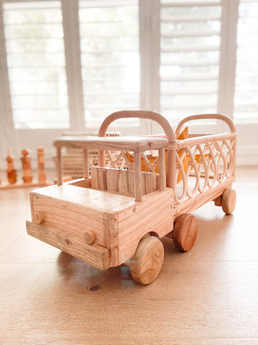 Wooden & Ratten Toy Truck // PRE ORDER - Behind The Trees Wooden Toys