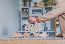 Load image into Gallery viewer, Personalised Dino Name Puzzle - Behind The Trees Wooden Toys