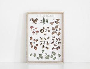 Woodland Counting Art Print - A3 - Behind The Trees Wooden Toys