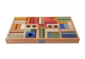Rainbow wooden block set - 54 piece // Pre Order - Behind The Trees Wooden Toys