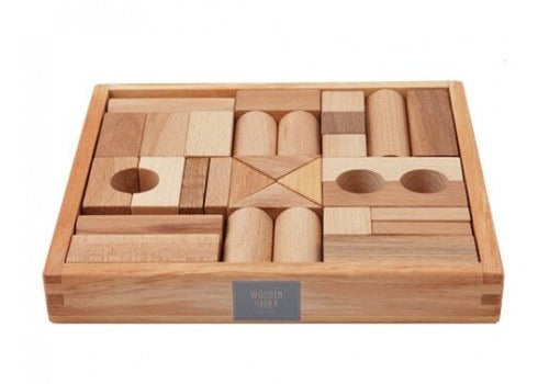 Wooden Story // Natural Blocks in Tray 30pc PREORDER - Behind The Trees Wooden Toys