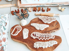 Load image into Gallery viewer, Monarch Lifecycle Dough Cutter Set - Behind The Trees Wooden Toys