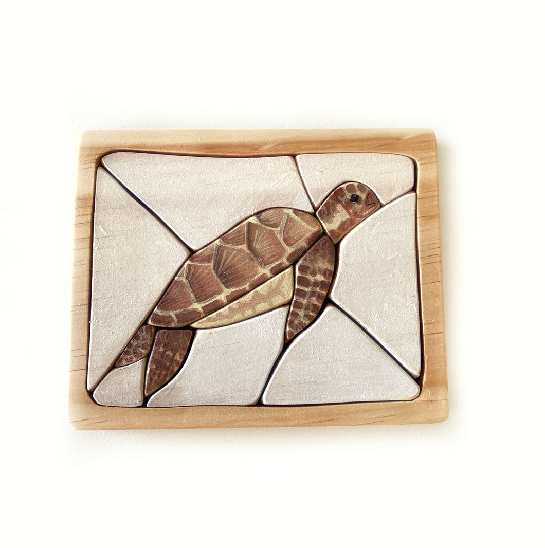 Sea Turtle Watercolour Wooden Jigsaw Puzzle - Behind The Trees Wooden Toys