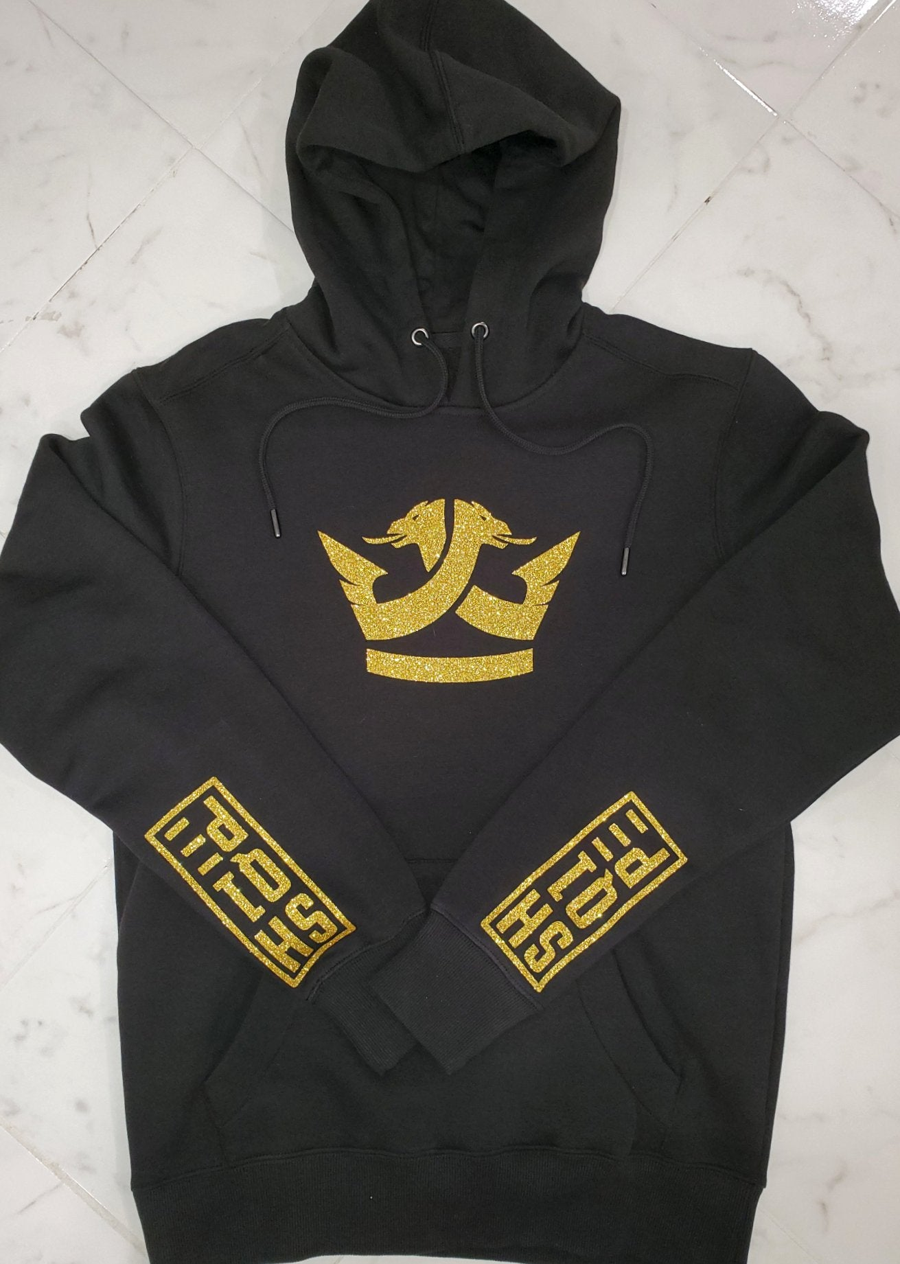Limited Edition Shq1pe Hoodies- Jet Black (Gold Sparkle)